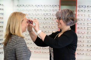 Fitting glasses at Hampton Eyecare Optometrists